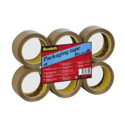 Ruban d'Emballage Scotch® - Classique - Flat Pack - Brun - 50 mm x 66 m - 6 Rouleaux/Paquet