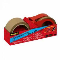 Ruban d'Emballage Scotch® - Classique - Brun - 50 mm x 66 m - 2 Rouleaux + Dévidoir à Main