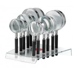 Présentoir loupes Alco contenu 4x 50mm(1272), 4x 65mm(1273) et 4x 75mm(1274)