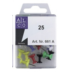 Push pins Alco assorti boîte. 25 pièces