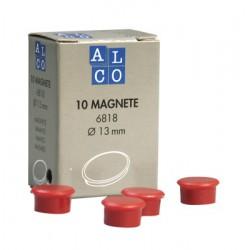 Aimant Alco 13mm rond rouge boîte. 10 pièces