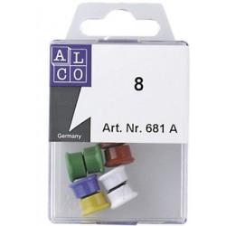 Aimant Alco 13mm rond assorti foncé boîte. 10 pièces