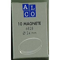 Aimant Alco 24mm rond boîte 10 pièces rouge