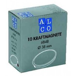 Aimant Alco 38mm rond blanc boîte. 10 pièces