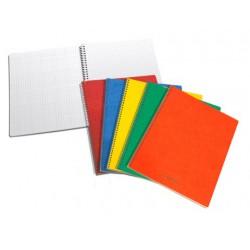 CAHIERS SPIRALÉS, papier sans bois, quad.5mm, carton lyon assortis, 80g/m², 160p, 165x210mm