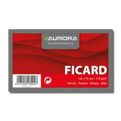 FICARD, FICHES 75X125 BLANC UNI 175G/M², FICHES SANS BOIS BLANC