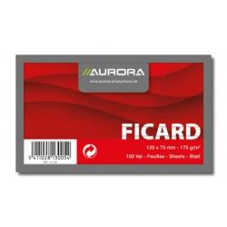 FICARD, FICHES 75X125 BLANC LIGNÉ 175G/M², FICHES SANS BOIS BLANC