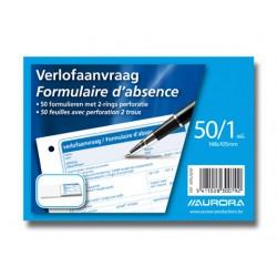 FORMULAIRE D'ABSENCE, papier sans bois, Français / Néerlandais, A6, 70g/m², 100p, 148x105mm