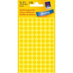 Pastilles Colorées, jaunes, Ø 8 mm 4 feuilles, 104 et. par feuille
