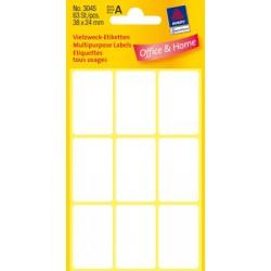 Etiquettes tous usages, blanches 38x24 mm