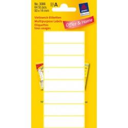 Etiquettes tous usages, blanches 50x14mm