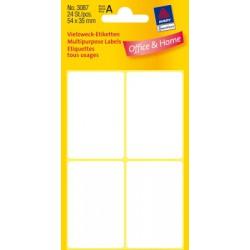 Etiquettes tous usages, blanches 54x35mm