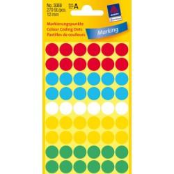 Etiquettes tous usages, assorties 12mm