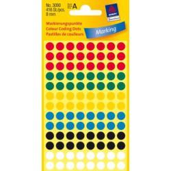 Etiquettes tous usages, assorties 8mm