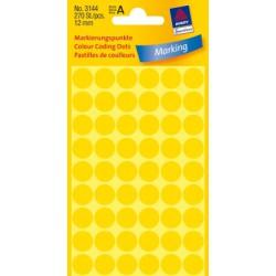 Pastilles Colorées, jaunes, Ø 12mm 5 feuilles, 54 et. par feuille