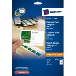 Cartes de visite Quick-Clean Avery 85x54mm 200gr 10 feuilles