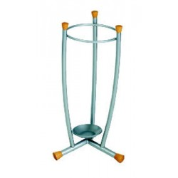 Support-parapluie Alco métal avec boutons en bois clair hauteur 60cm, pied rond 25cm