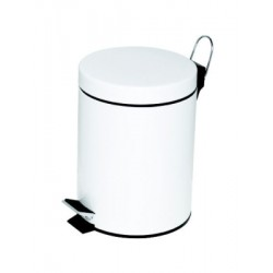 Poubelle à pédale Alco métal 5l. blanc, seau intérieur en plastique, haut 28,5cm, rond 20,5cm