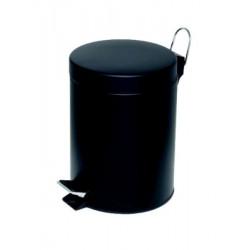Poubelle à pédale Alco métal 5l. noir, seau intérieur en plastique, haut 28,5cm, rond 20,5cm