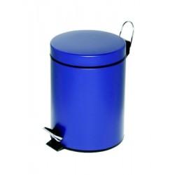Poubelle à pédale Alco métal 5l. bleu, seau intérieur en plastique, haut 28,5cm, rond 20,5cm