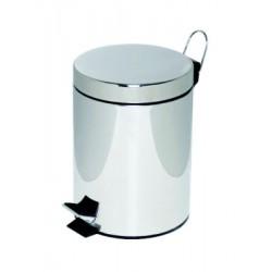Poubelle à pédale Alco métal 5l. chromé, seau intérieur en plastique, haut 28,5cm, rond 20,5cm