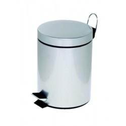 Poubelle à pédale Alco métal 5l. argenté, seau intérieur en plastique, haut 28,5cm, rond 20,5cm