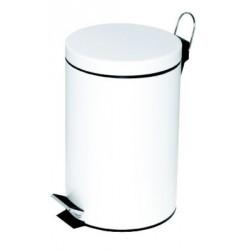 Poubelle à pédale Alco métal 12l. blanc, seau intérieur en plastique, haut 39,5cm, rond 25,5cm