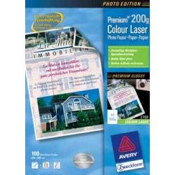 Papier laser couleur Avery A4 200gr blanc boite a 100 flles