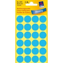 Pastilles Colorées, bleues, Ø 18 mm 4 feuilles, 24 et. par feuille