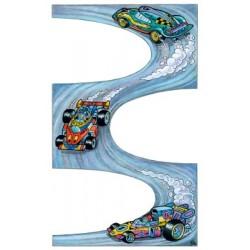 Étiquette scolaire Z-design 3 feuilles racing