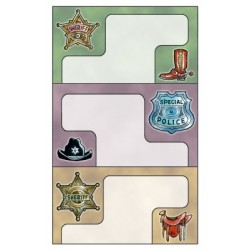 Étiquette scolaire Z-design 3 feuilles sherif