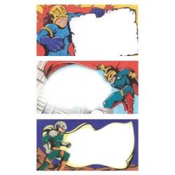 Étiquette scolaire Z-design 3 feuilles super-héros