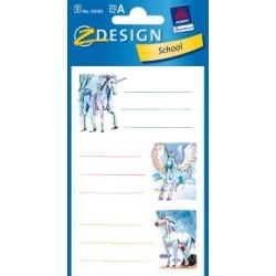 Étiquette scolaire Z-design 3 feuilles unicorn