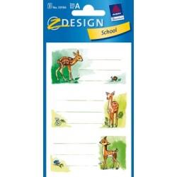Étiquette scolaire Z-design 3 feuilles bambi