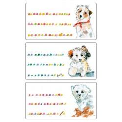 Étiquette scolaire Z-design 3 feuilles chiens