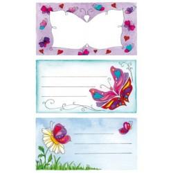 Étiquette scolaire Z-design 2 feuilles papillons