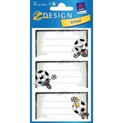 Étiquette scolaire Z-design 3 feuilles football
