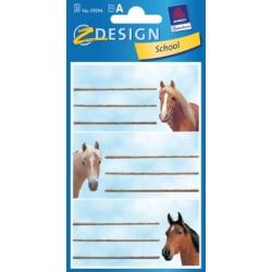Étiquette scolaire Z-design 3 feuilles tête de cheveaux
