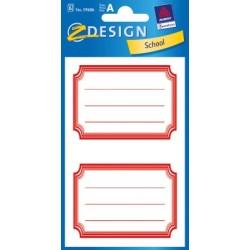 Étiquette scolaire Z-design 6 feuilles cadre rouge