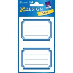 Étiquette scolaire Z-design 6 feuilles cadre bleue