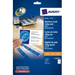 Cartes de visite Avery microperforées mates 85x54mm 185gr