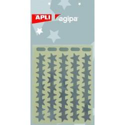POCH 3 FL ETOILES ARGENT85X120